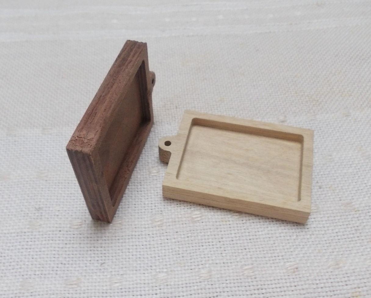1pc unfinished wooden rectangle shaped pendant base with loop ...