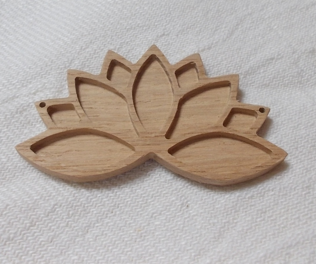 1 Pc Unfinished Wooden Lotus Flower Lotus Flower Pendant Base